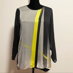 Vince Camuto black and grey silky blouse size L